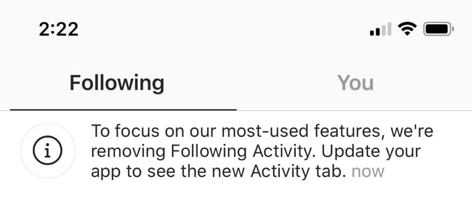 7. Instagram Removes the 'Following' Tab