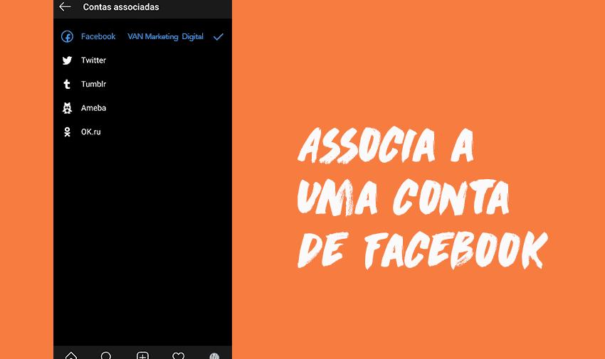 5º Passo: associa a uma conta de Facebook