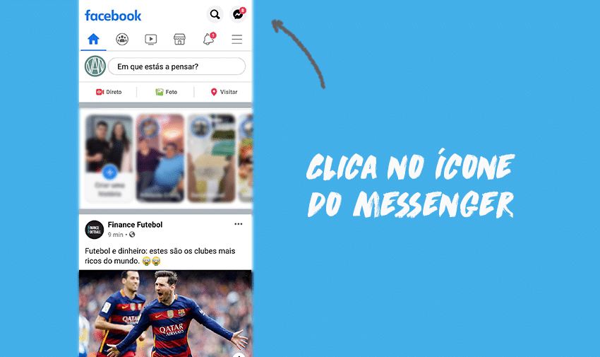 Clica no ícone do Messenger