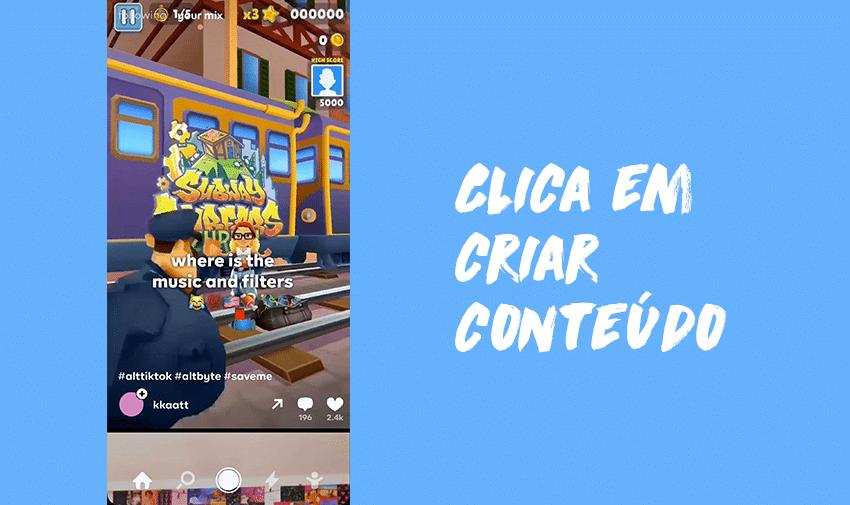 Clica em criar conteúdo