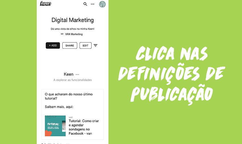 Clica nas definições de publicação