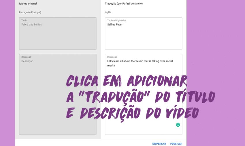 """#4 - Clica em adicionar a """"tradução"""" do título e descrição do vídeo"""