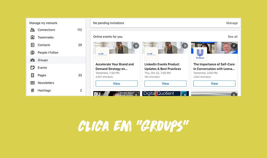 """Clica em """"Groups"""""""