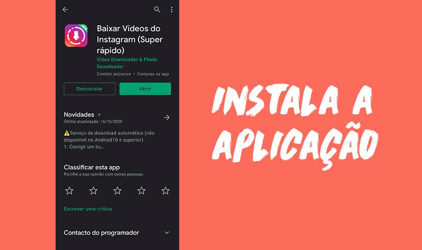 Instala a aplicação