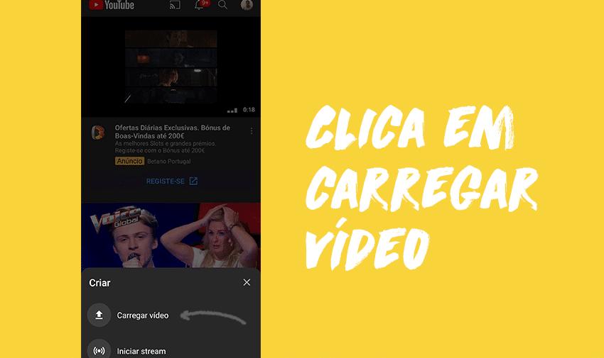 Clica em carregar vídeo