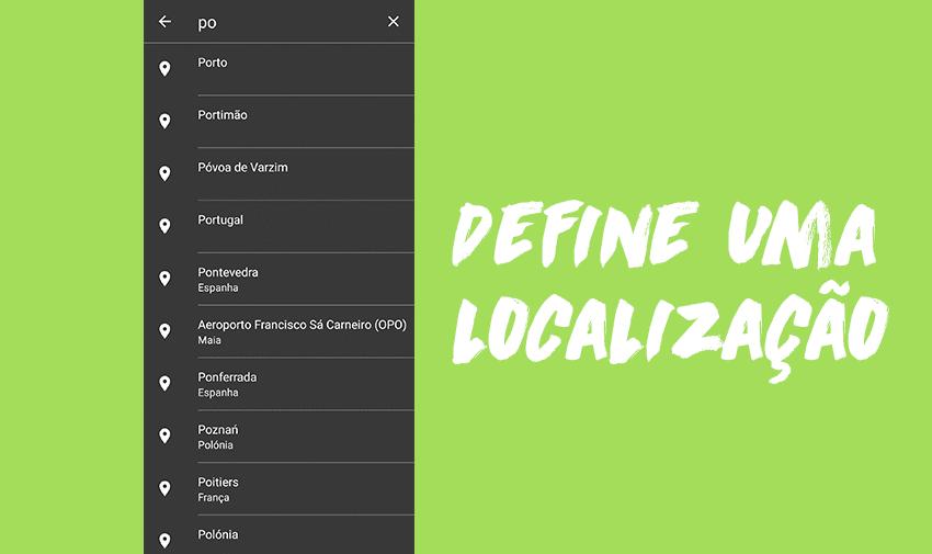Define uma localização