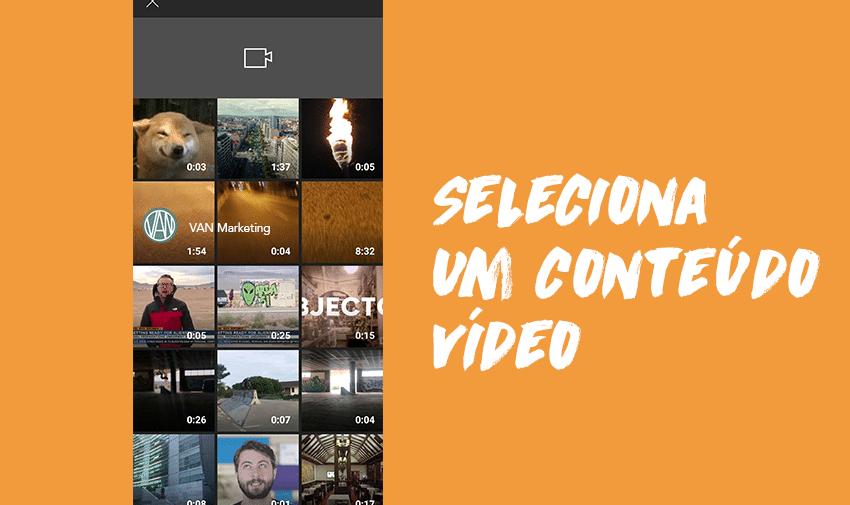 Seleciona um conteúdo vídeo