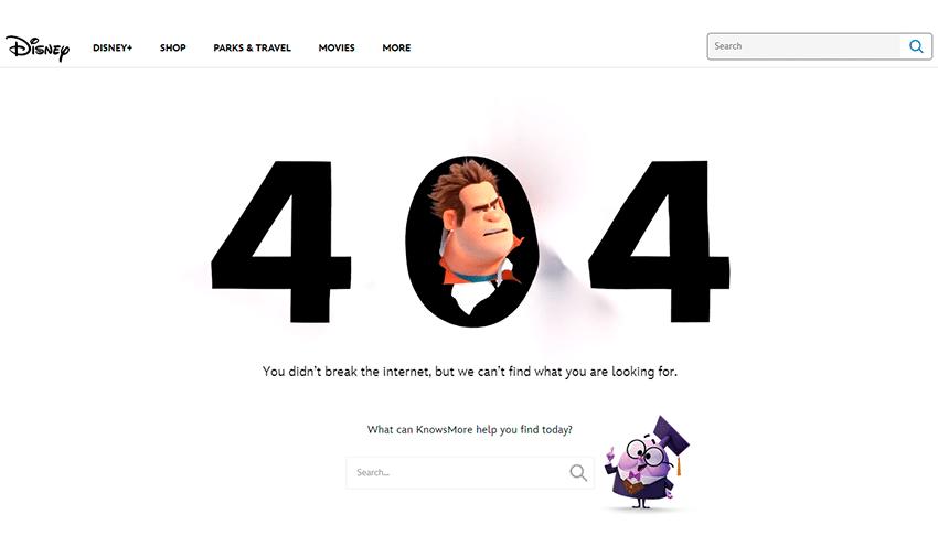 Exemplo de erro 404 da Disney