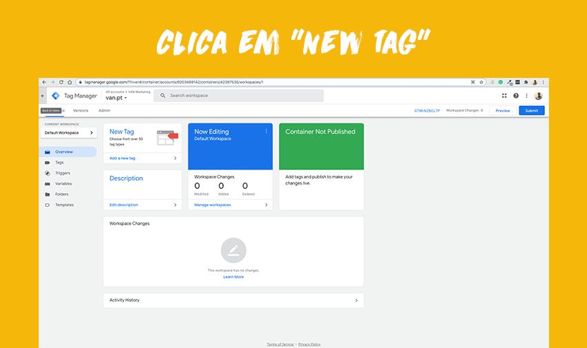 """Clica em """"New Tag""""."""