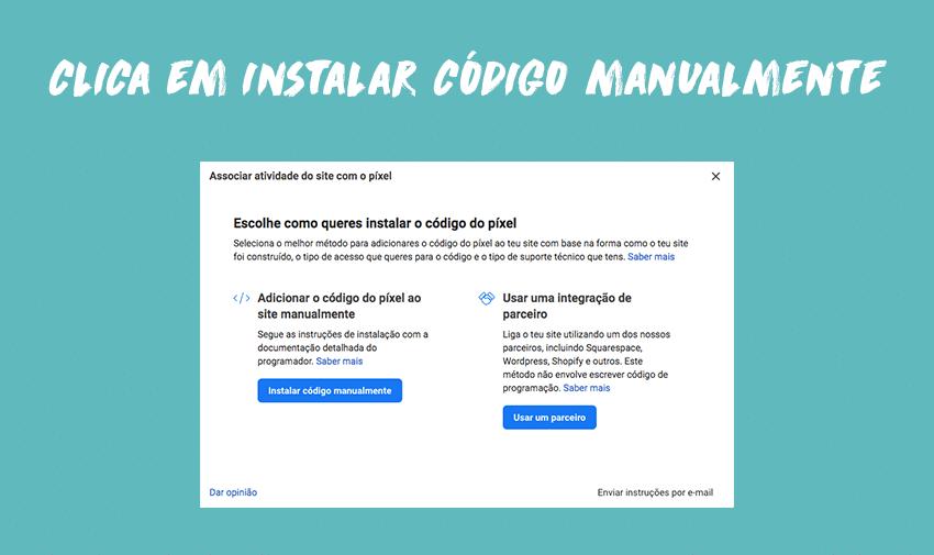 Clica em instalar código manualmente
