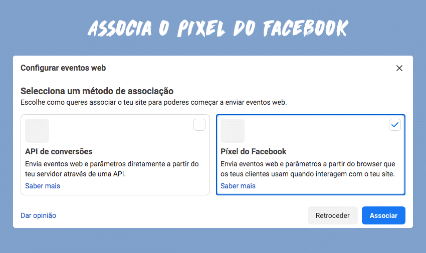 """Seleciona a opção """"Pixel de Facebook"""""""