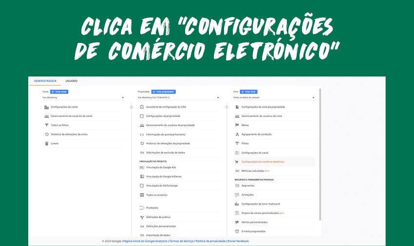 """Clica em """"configurações de comércio eletrónico""""."""