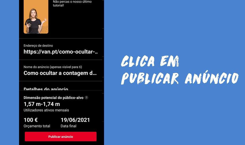 Confirma tudo e clica em publicar anúncios no Pinterest