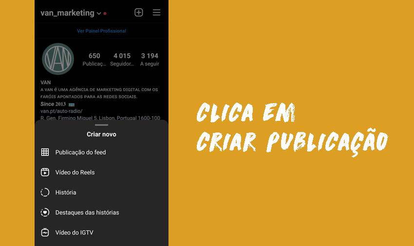 Clica em criar publicação.