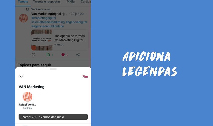 Adiciona legendas automaticamente geradas ao teu Twitter Spaces