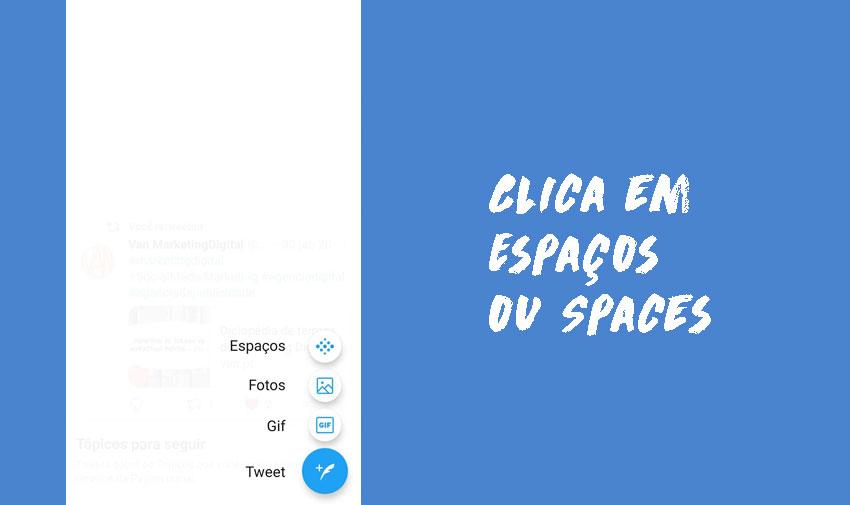 """Clica em """"Spaces"""" (ou, em português, """"Espaços"""")"""