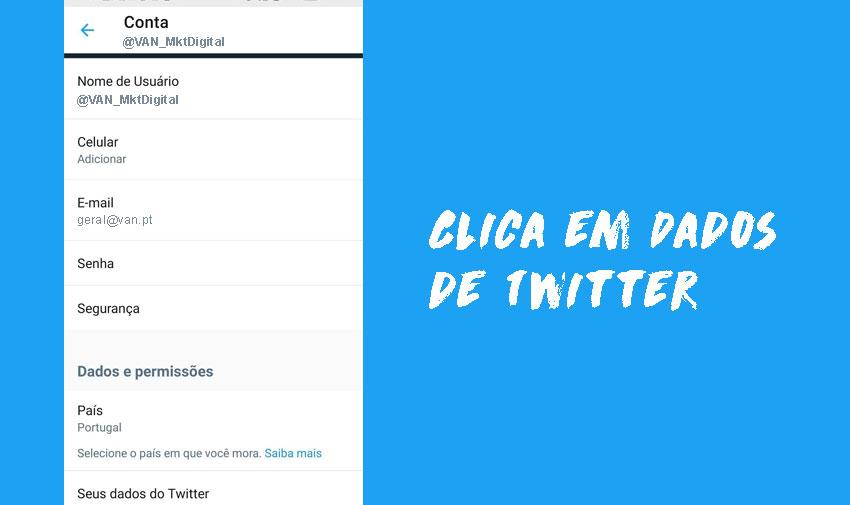 """Clica em """"Seus dados de Twitter""""."""