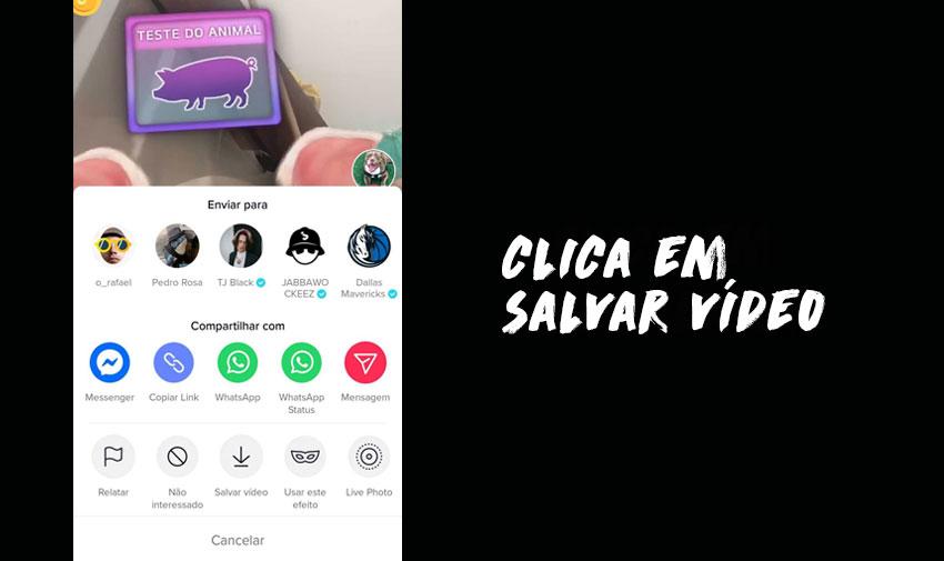 Download de vídeos do TikTok: Clica em salvar vídeo e este será guardado na tua galeria.