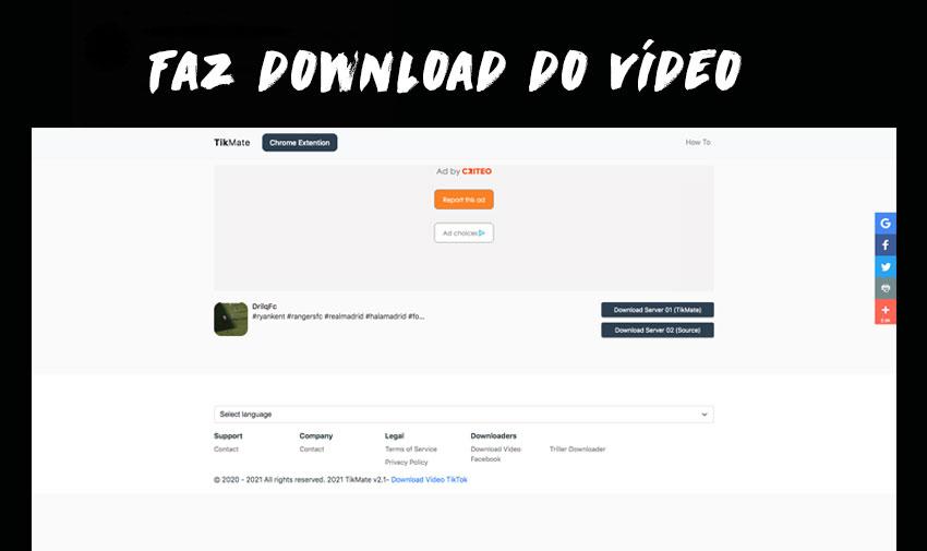 Faz download do vídeos do TikTok