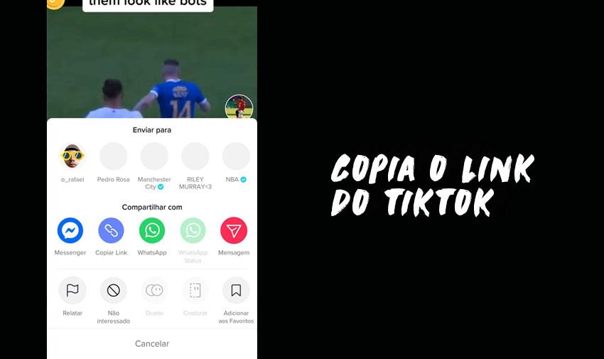 Download de vídeos do TikTok: Copia o link do TikTok
