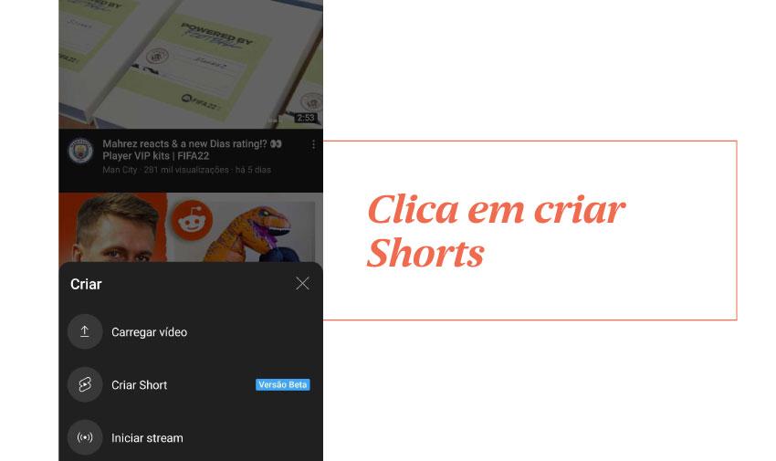Clica em criar Shorts